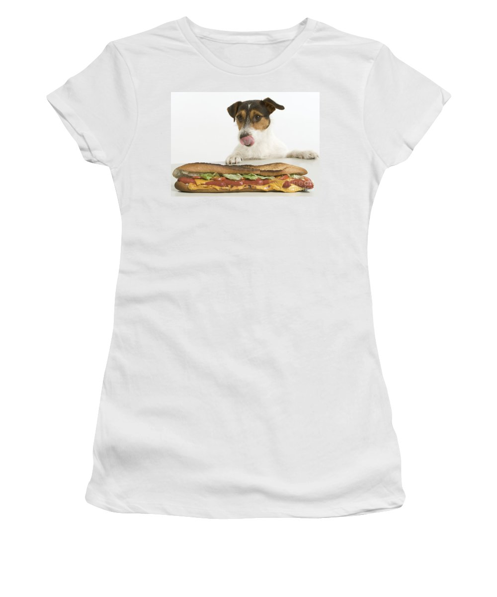 Jack Russell Terrier Women's T-Shirt (Athletic Fit) featuring the photograph Jack Russell With Sandwich by Jean-Michel Labat