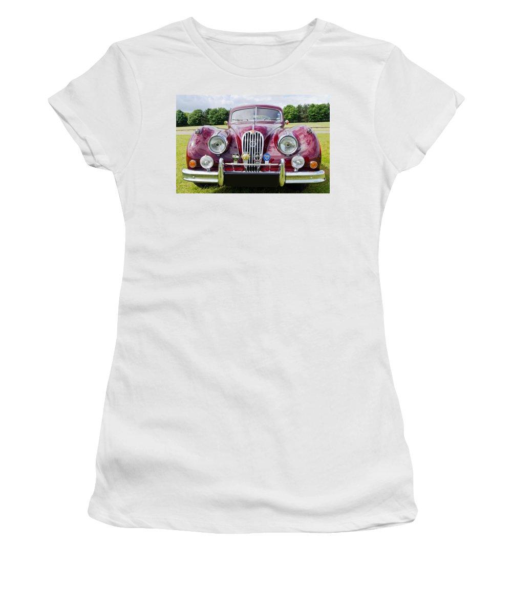 Jaguar Women's T-Shirt featuring the photograph Jaguar Xk140 by Scott Carruthers