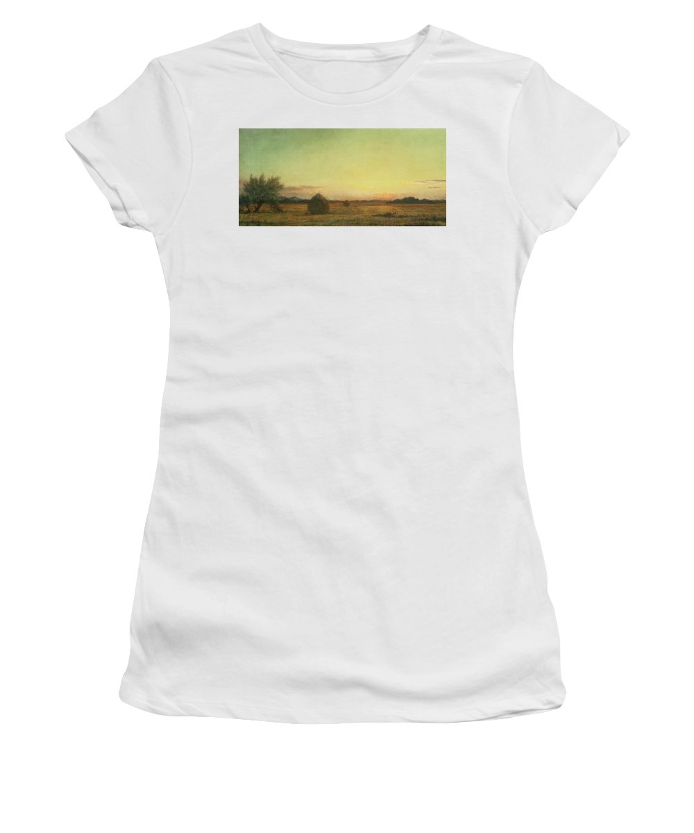 Landscape Women's T-Shirt (Athletic Fit) featuring the painting Jersey Meadows by Martin Johnson Heade