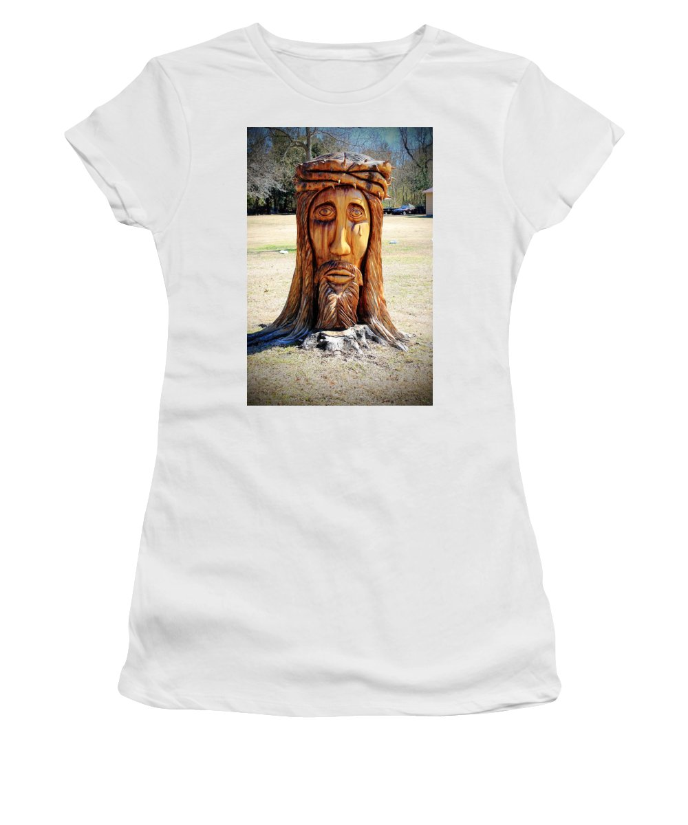 Jesus Women's T-Shirt featuring the photograph Jesus Carving by Mary Koval