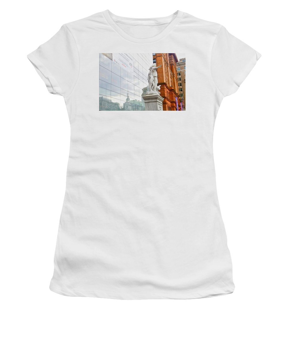 Philadelphia Women's T-Shirt (Athletic Fit) featuring the photograph Jewish Memorial Reflection by Alice Gipson
