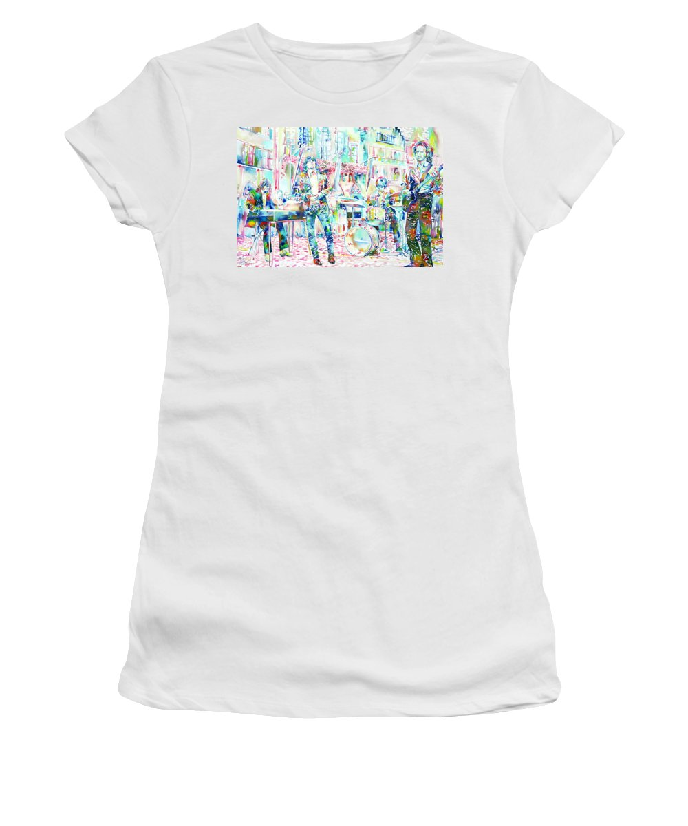 Doors Women's T-Shirt (Athletic Fit) featuring the painting Jim Morrison And The Doors Live Concert In The Street by Fabrizio Cassetta