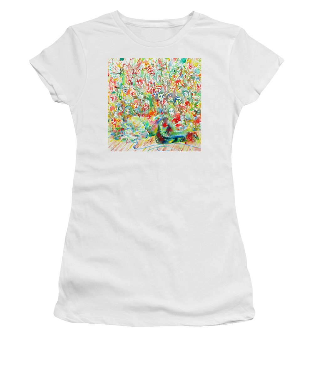 Doors Women's T-Shirt (Athletic Fit) featuring the painting Jim Morrison Live On Stage.2 by Fabrizio Cassetta