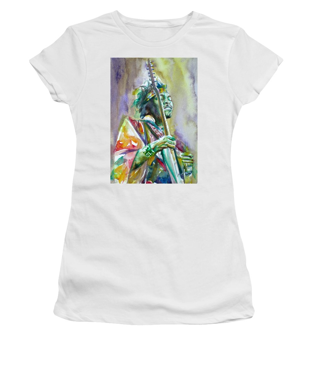 Jimi Women's T-Shirt (Athletic Fit) featuring the painting Jimi Hendrix Playing The Guitar.5 -watercolor Portrait by Fabrizio Cassetta