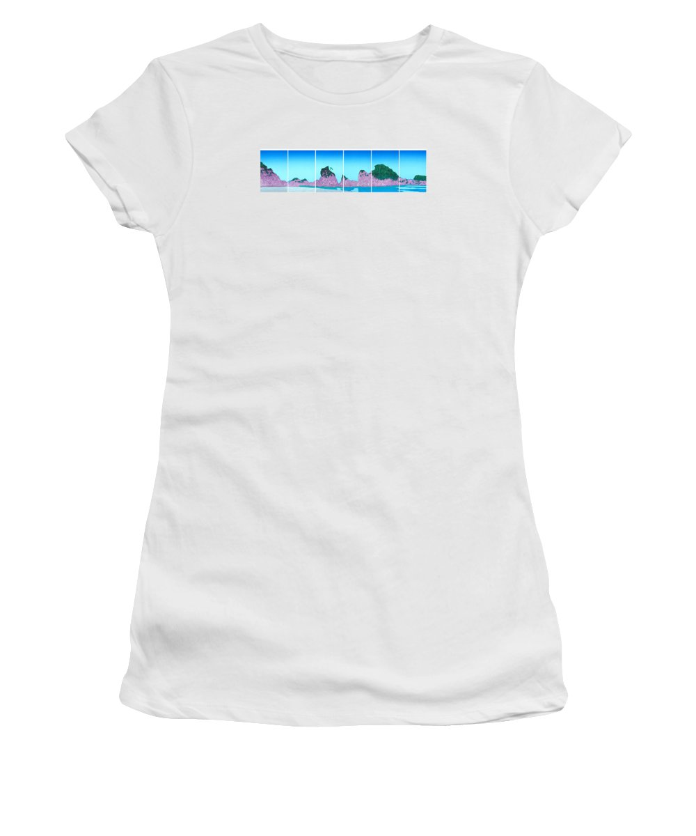 Landscape From Japan 21cm X 32 Cm X 6 Women's T-Shirt featuring the mixed media Joudogahama Beach by Jarle Rosseland