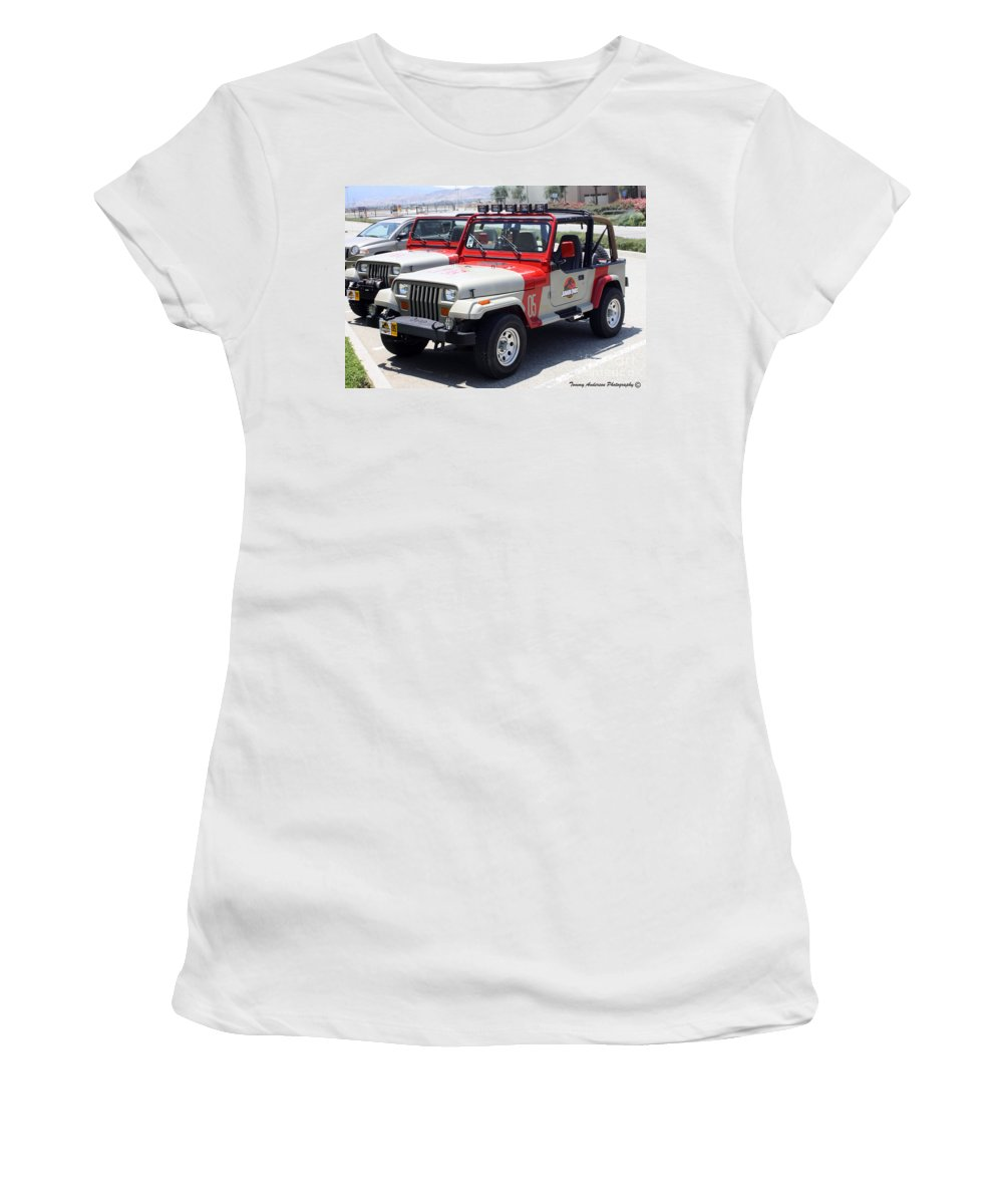Jeep Women's T-Shirt featuring the photograph Jurassic Park Jeeps by Tommy Anderson