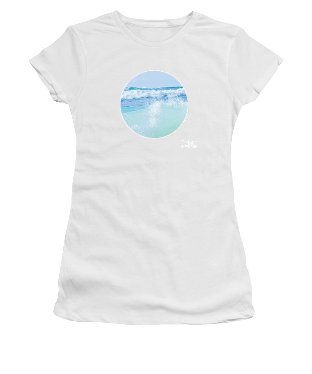 Kapukaulua Beach Women's T-Shirt featuring the photograph Kapuka'ulua Pure Blue by Sharon Mau