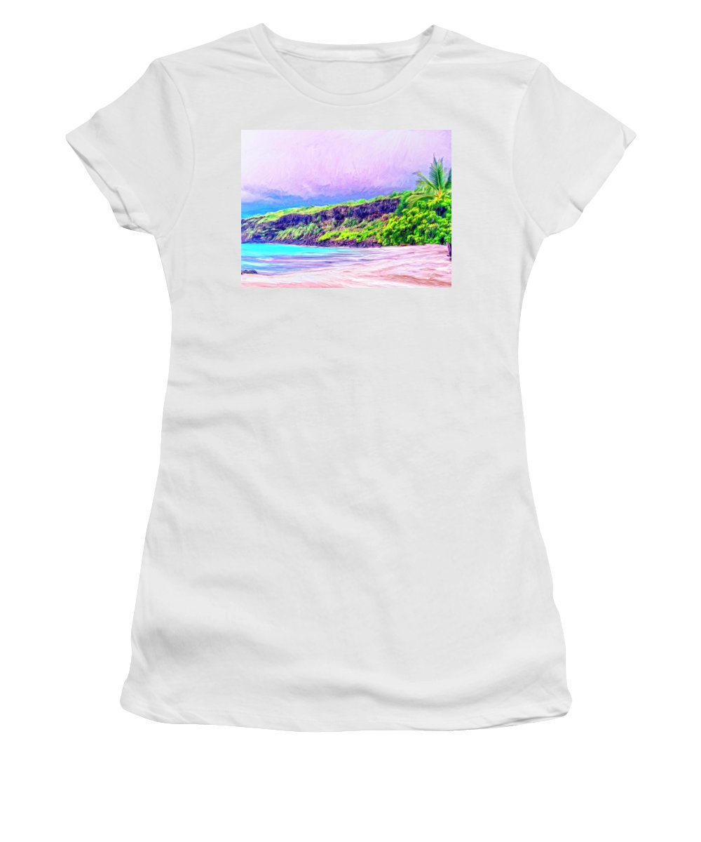 Napoopoo Women's T-Shirt featuring the painting Kealakekua Morning by Dominic Piperata