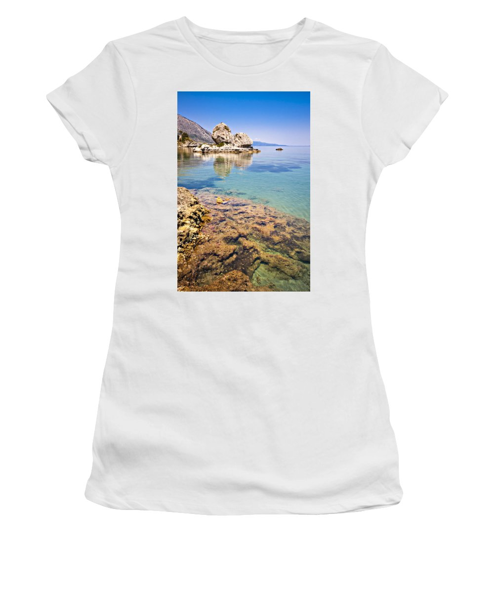 Kefalonia Women's T-Shirt (Athletic Fit) featuring the photograph Kefalonia Beauty by Meirion Matthias