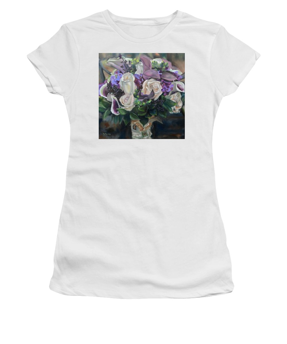 Ribbon Women's T-Shirt (Athletic Fit) featuring the painting Kelly's Bridal Bouquet by Donna Tuten