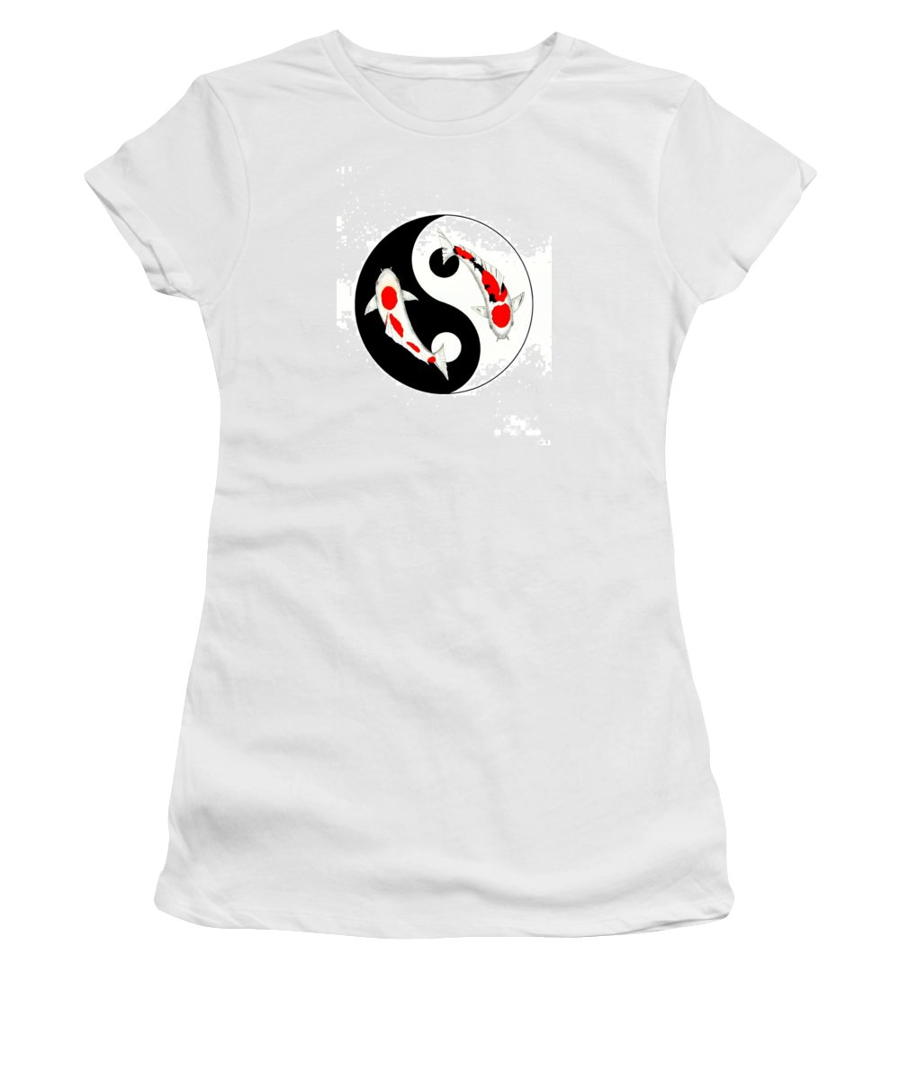 Tattoo Women's T-Shirt (Athletic Fit) featuring the painting Koi Kohaku And Taisho Sanke Yin Yang Painting by Gordon Lavender