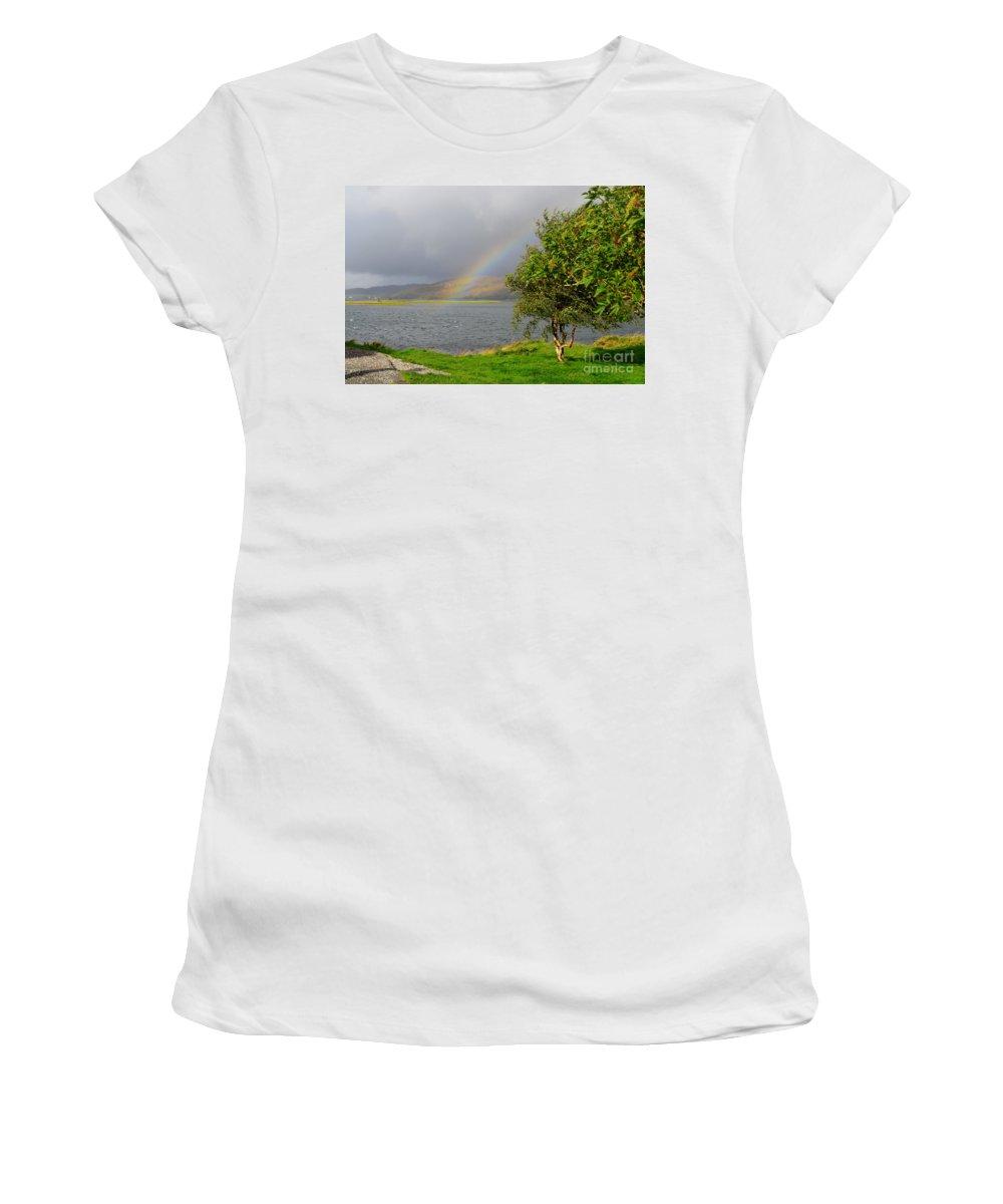 Kyle Of Lochalsh Women's T-Shirt (Athletic Fit) featuring the photograph Kyle Of Lochalsh Scotland by DejaVu Designs