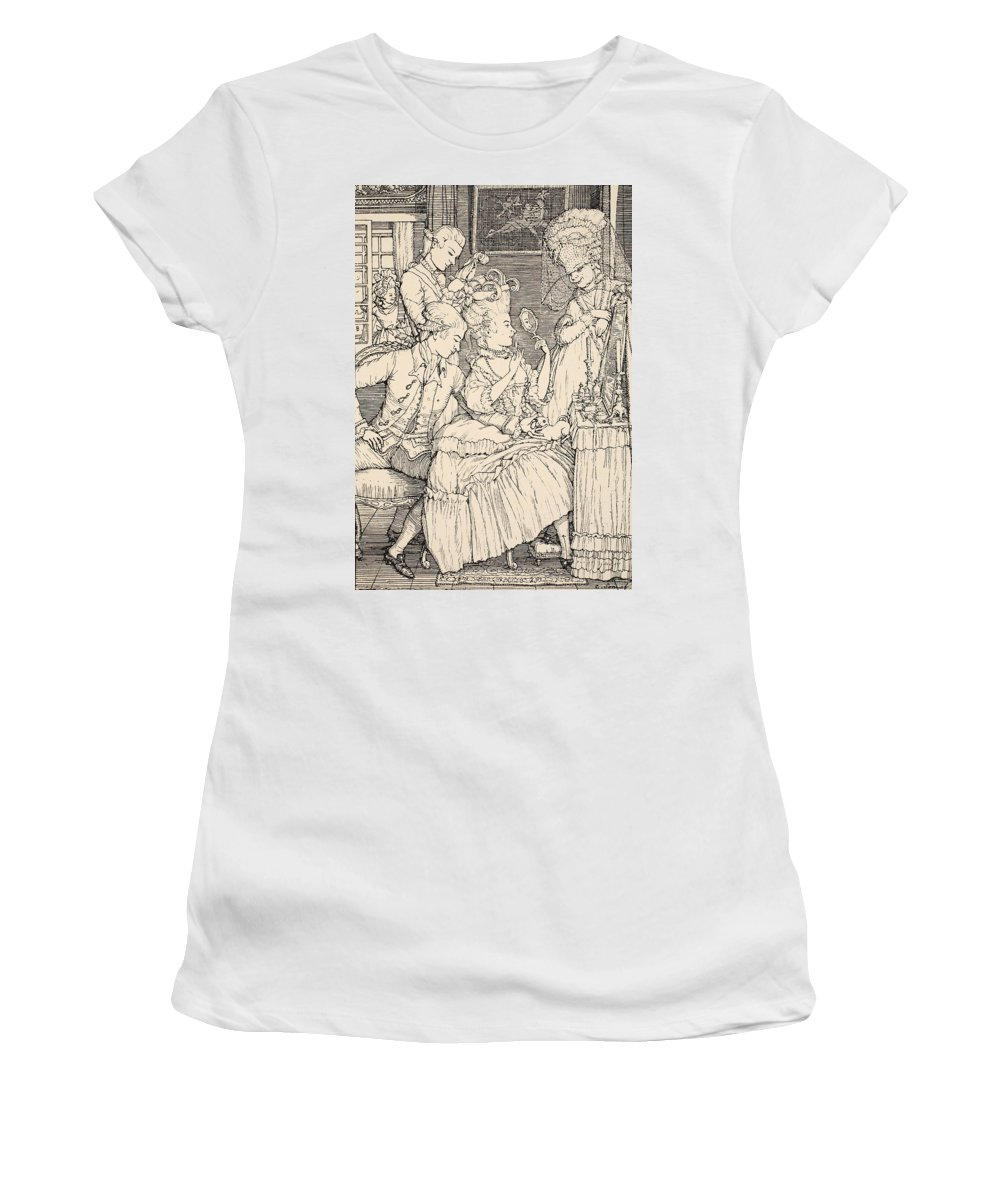 Somov Women's T-Shirt featuring the drawing La Toilette by Konstantin Andreevic Somov