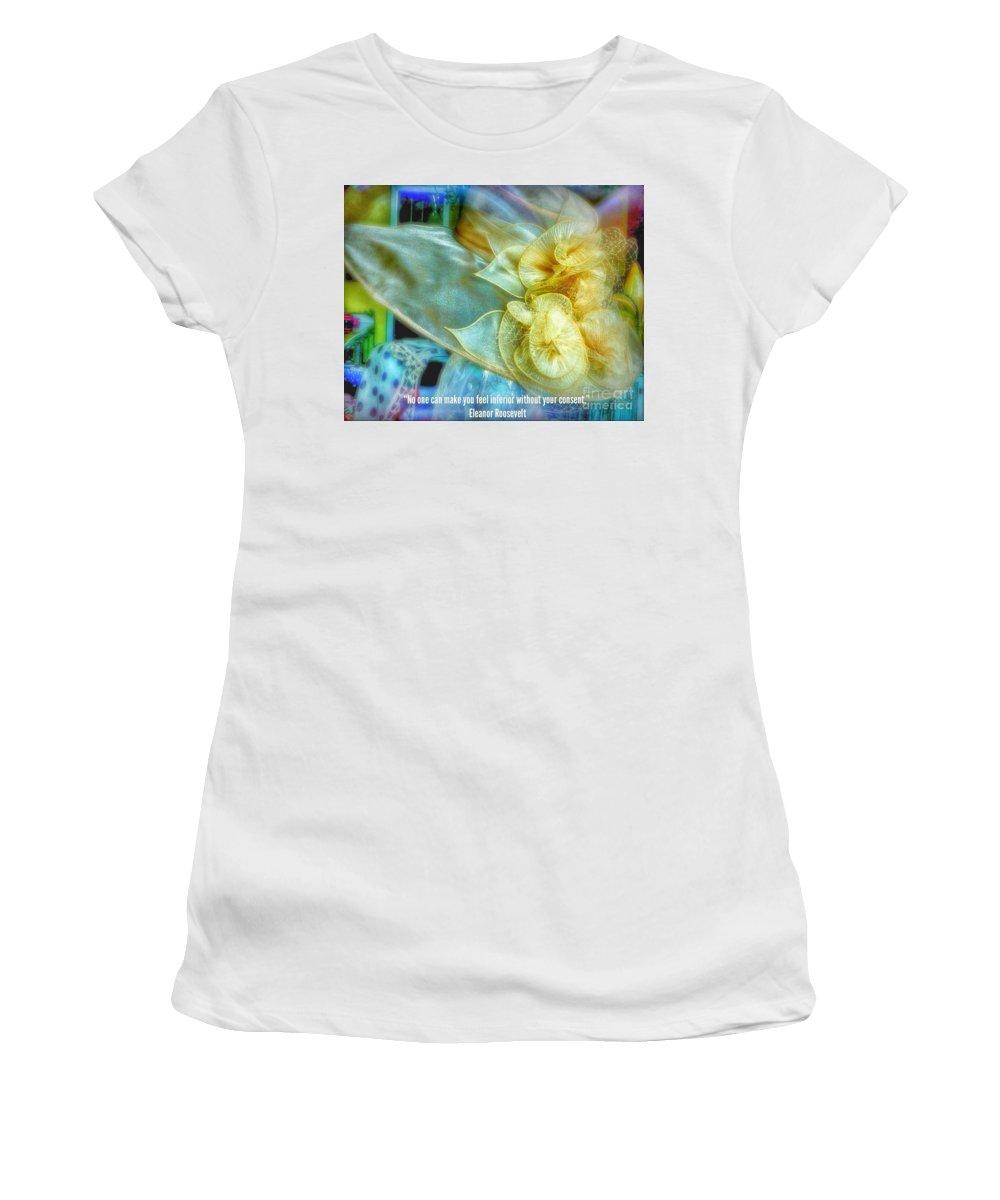 Ladies Bonnet Women's T-Shirt (Athletic Fit) featuring the photograph Ladies Bonnet Quote by Susan Garren