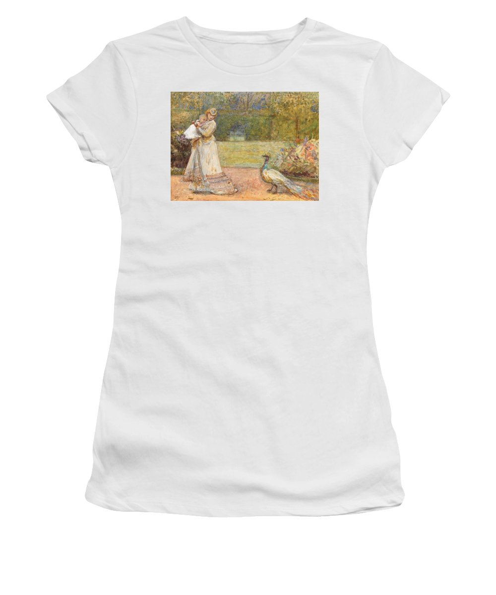 Outdoors; Garden; Park; Female; Walking; Baby; Child; Infant; Peacock; Bird; Victorian Women's T-Shirt (Athletic Fit) featuring the painting Lady And A Peacock by George John Pinwell