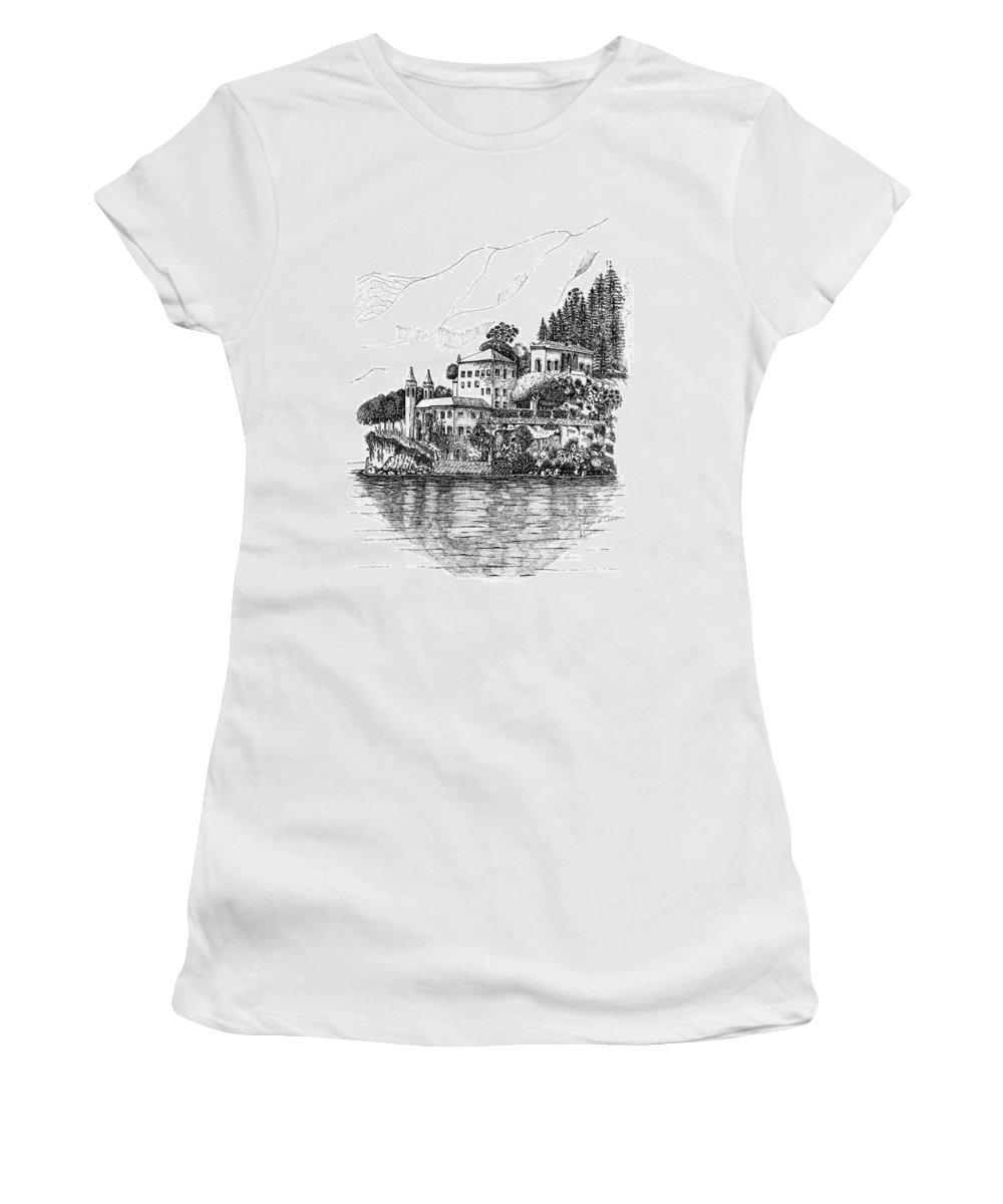 Women's T-Shirt (Athletic Fit) featuring the drawing Lago Di Como-lenno - Vila Del Bilbianello by Franko Brkac