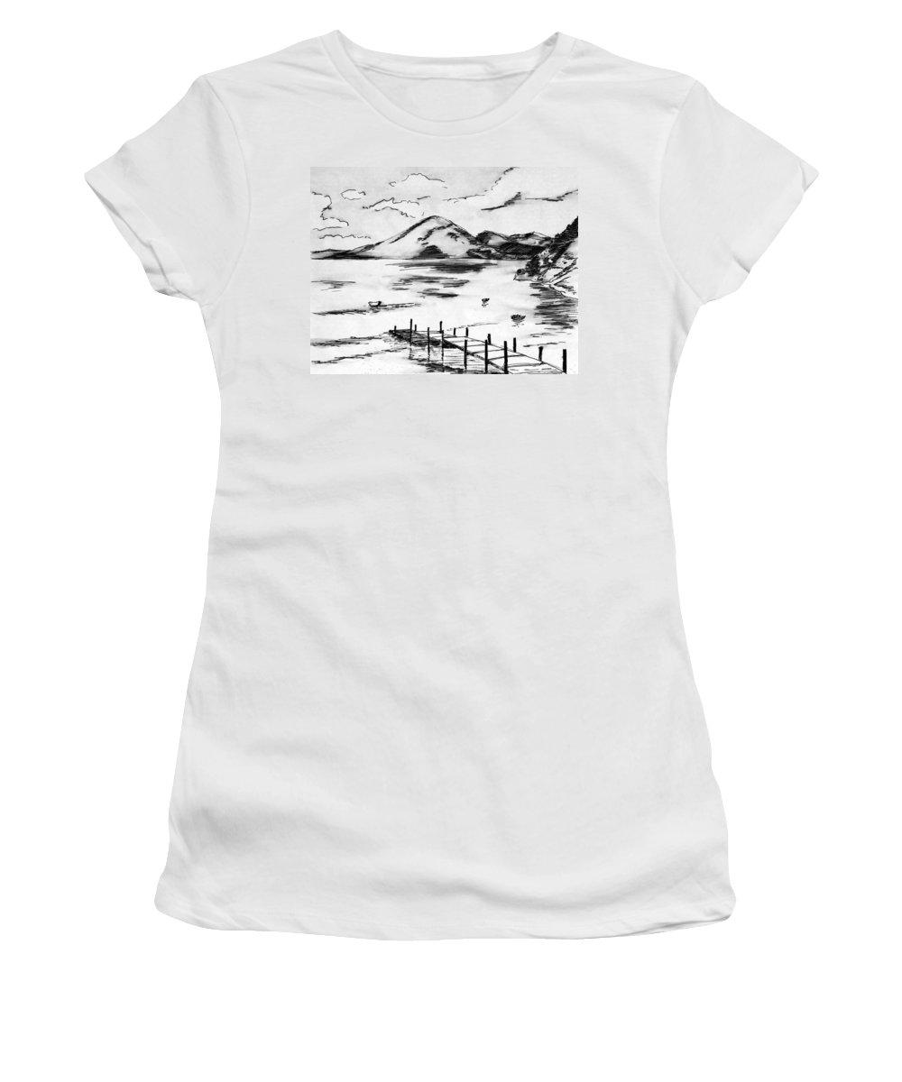 Lake Atitlan Women's T-Shirt (Athletic Fit) featuring the painting Lake In Guatemala by Masha Batkova