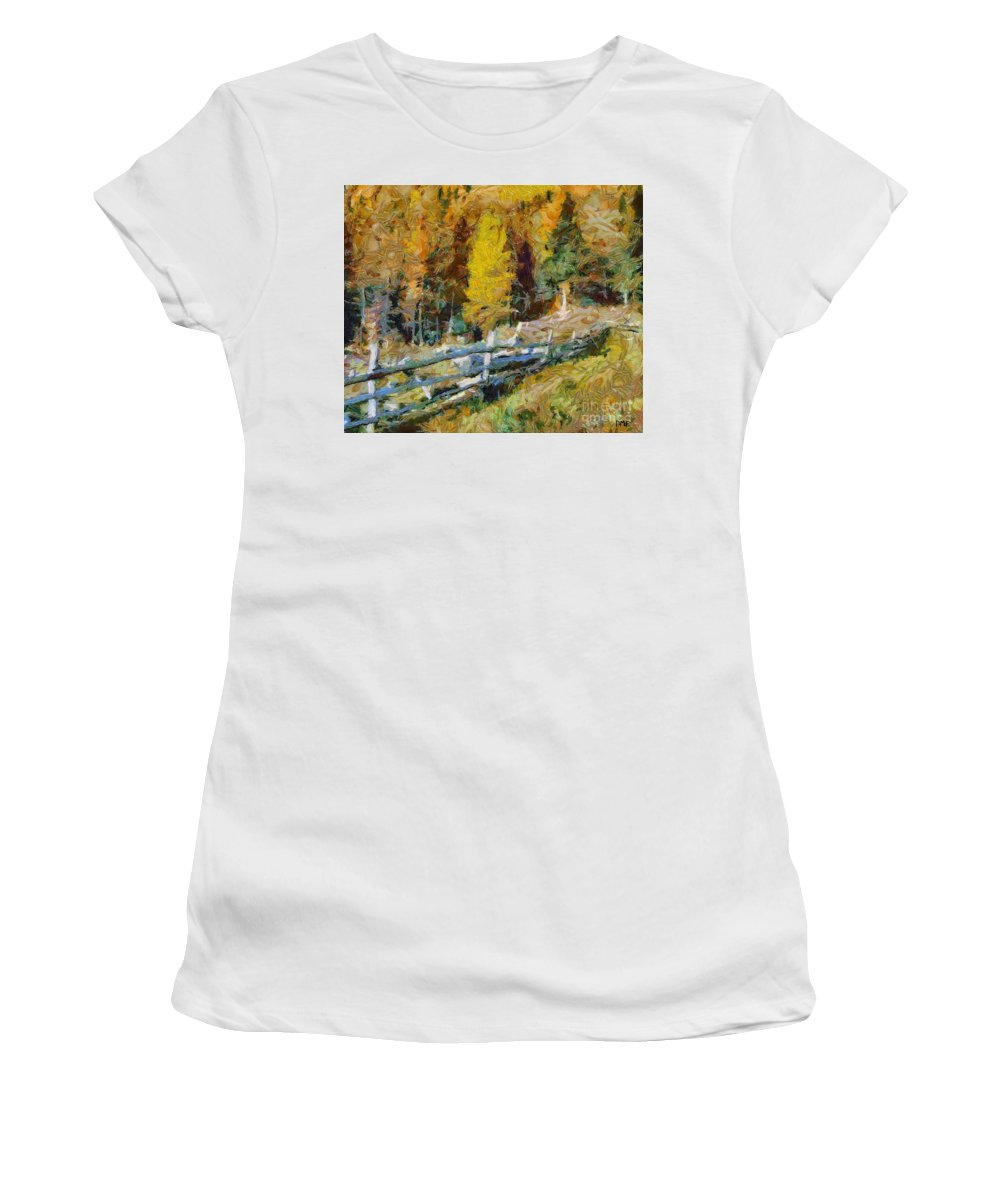 Landscapes Women's T-Shirt (Athletic Fit) featuring the painting Larches In Autumn by Dragica Micki Fortuna