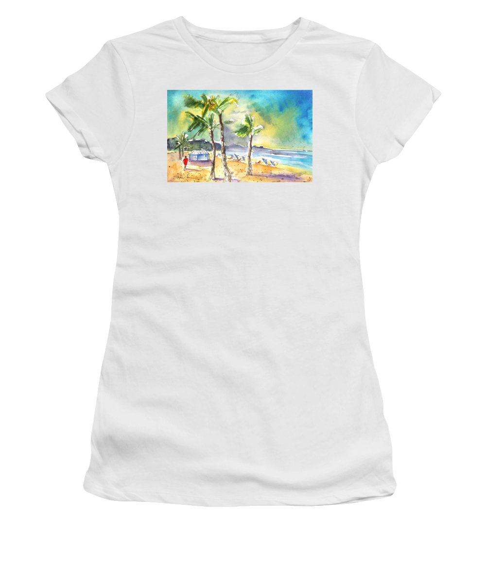 Travel Women's T-Shirt (Athletic Fit) featuring the painting Las Canteras Beach In Las Palmas De Gran Canaria by Miki De Goodaboom