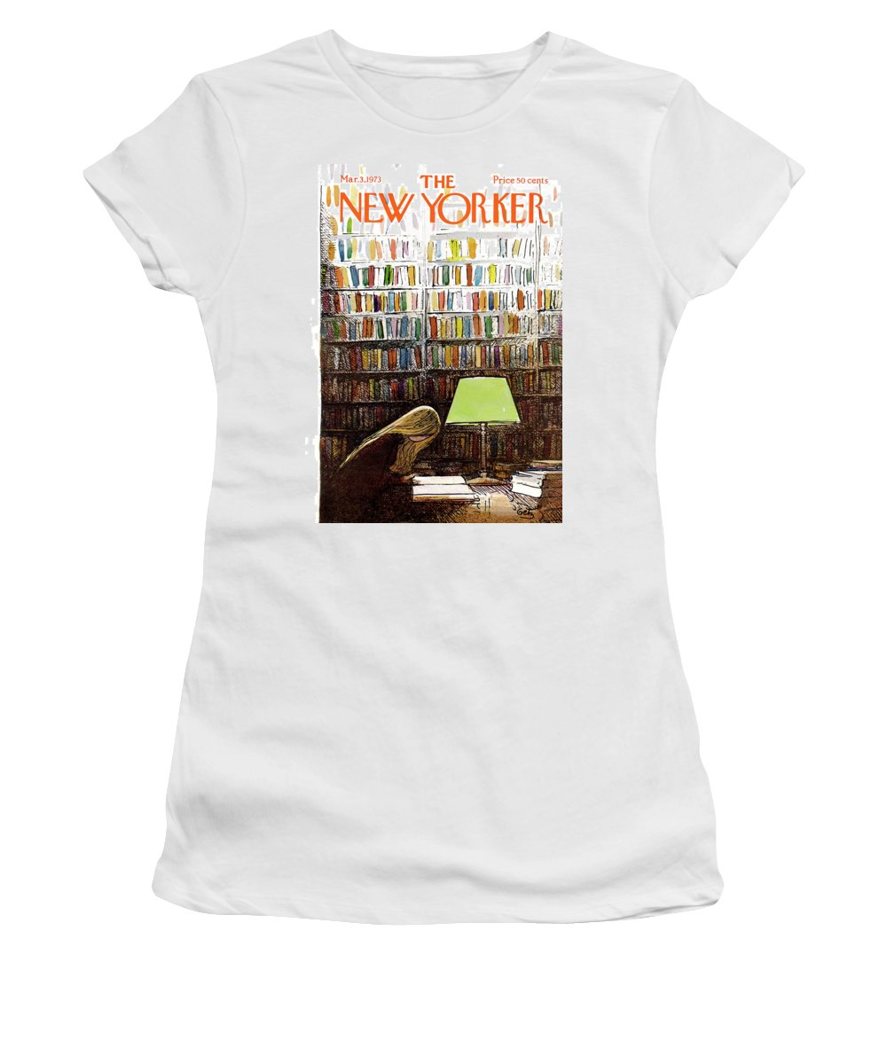 Library Women's T-Shirt featuring the painting New Yorker March 3, 1973 by Arthur Getz