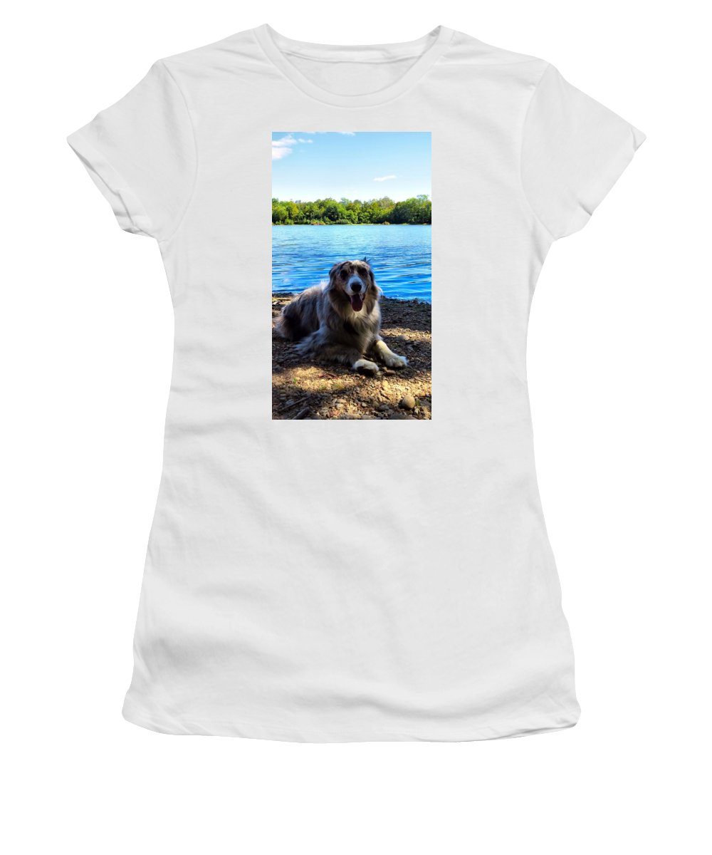Aussie Women's T-Shirt featuring the photograph Layin On The Beach by Art Dingo