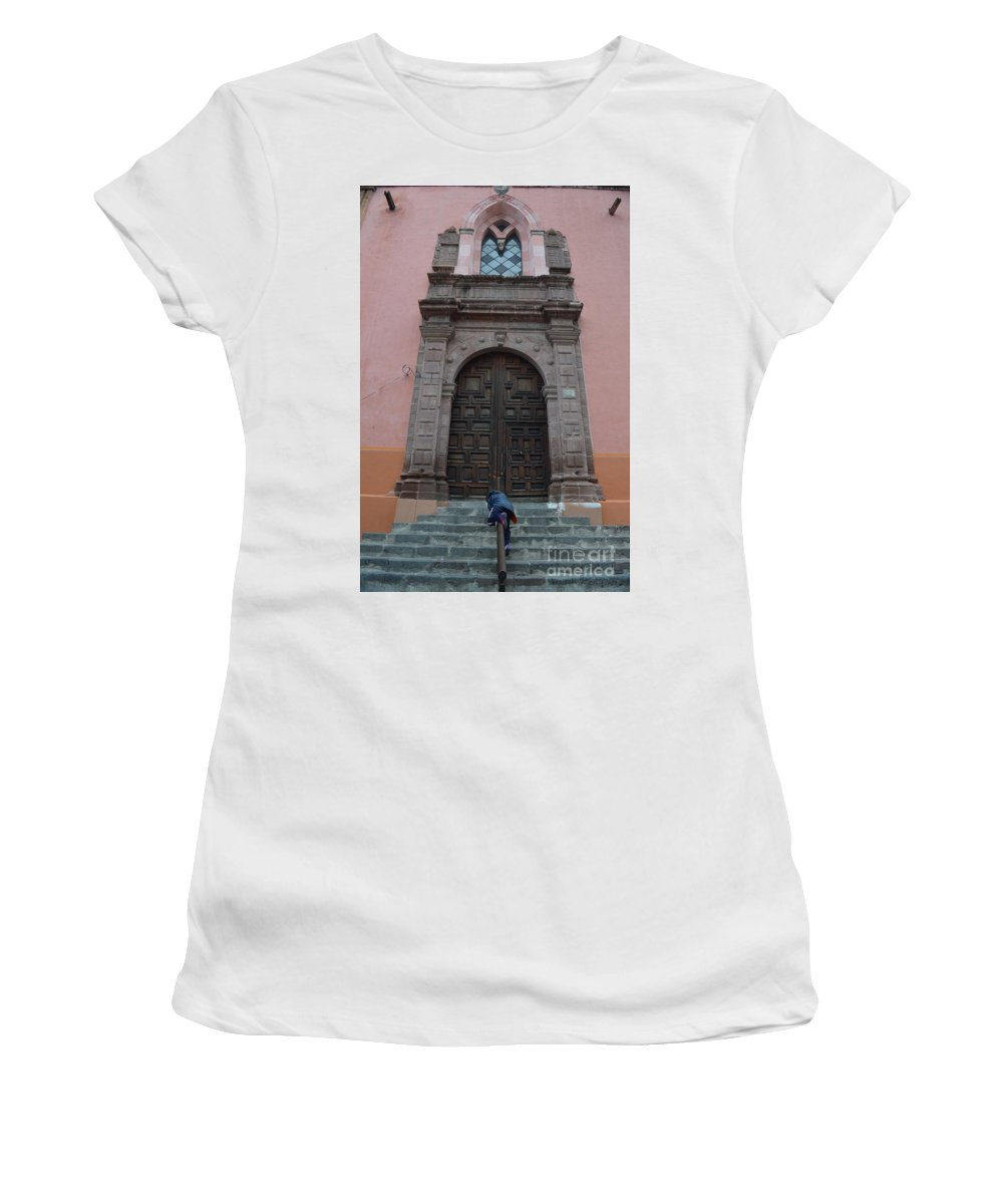 Leaving Women's T-Shirt (Athletic Fit) featuring the photograph Leaving Church Lighthearted by Brian Boyle