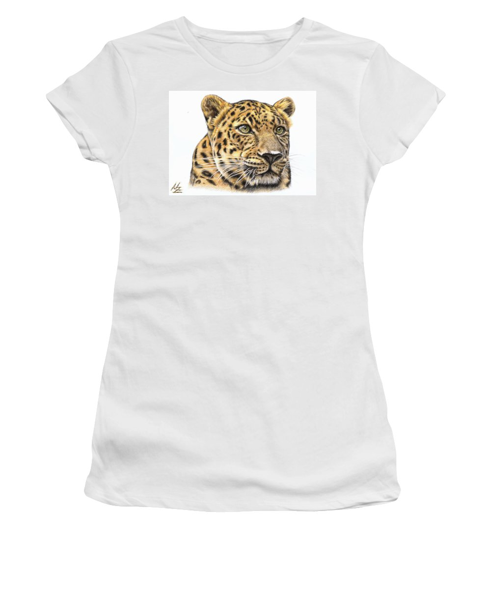 Leopard Women's T-Shirt (Athletic Fit) featuring the drawing Leopard by Nicole Zeug