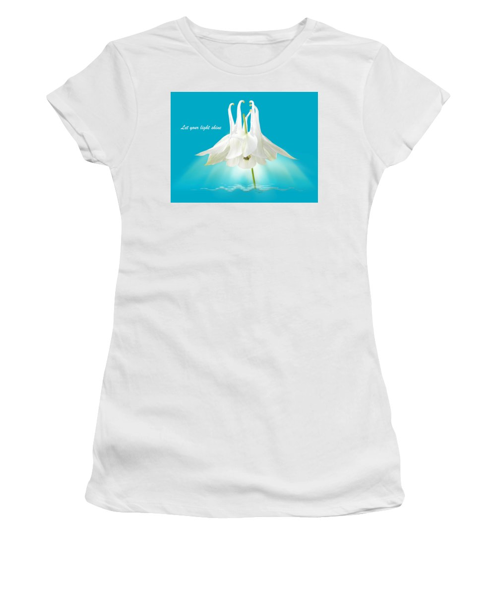 Turquoise Flowers Women's T-Shirt featuring the photograph Let Your Light Shine by Gill Billington
