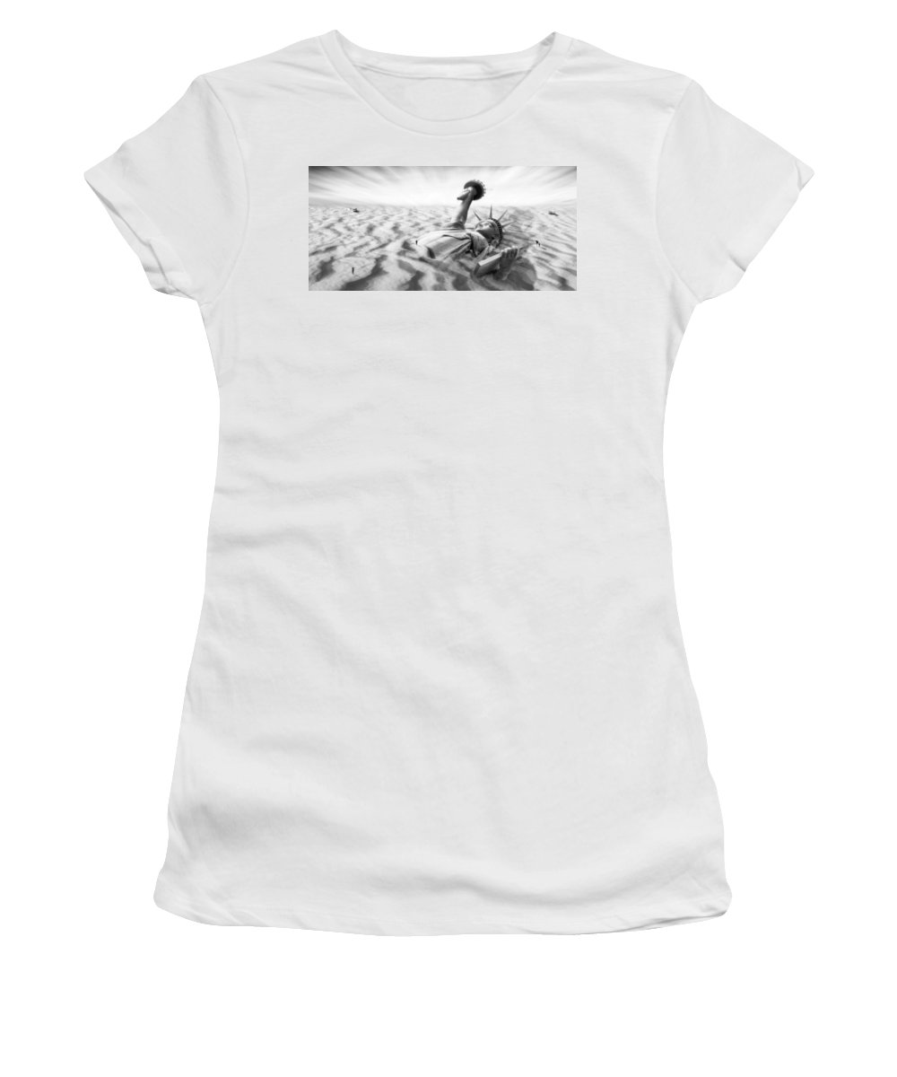 Surrealism Women's T-Shirt (Athletic Fit) featuring the photograph Liberty Park II Panoramic by Mike McGlothlen