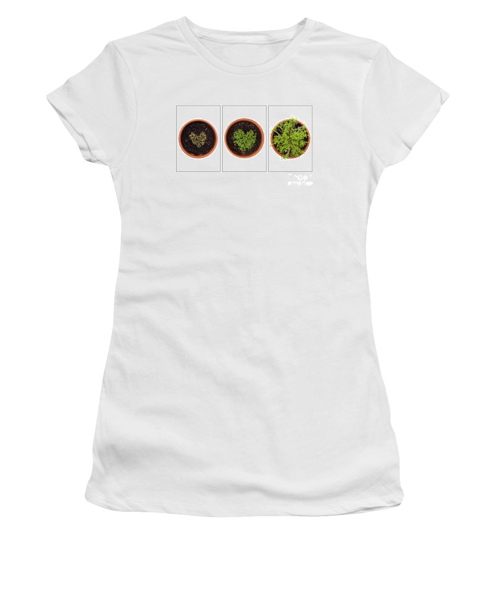 Annegilbert Women's T-Shirt (Athletic Fit) featuring the photograph Life Of Cress On White by Anne Gilbert