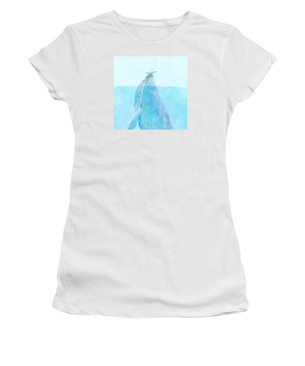 Whale Women's T-Shirt featuring the drawing Lift by Eric Fan