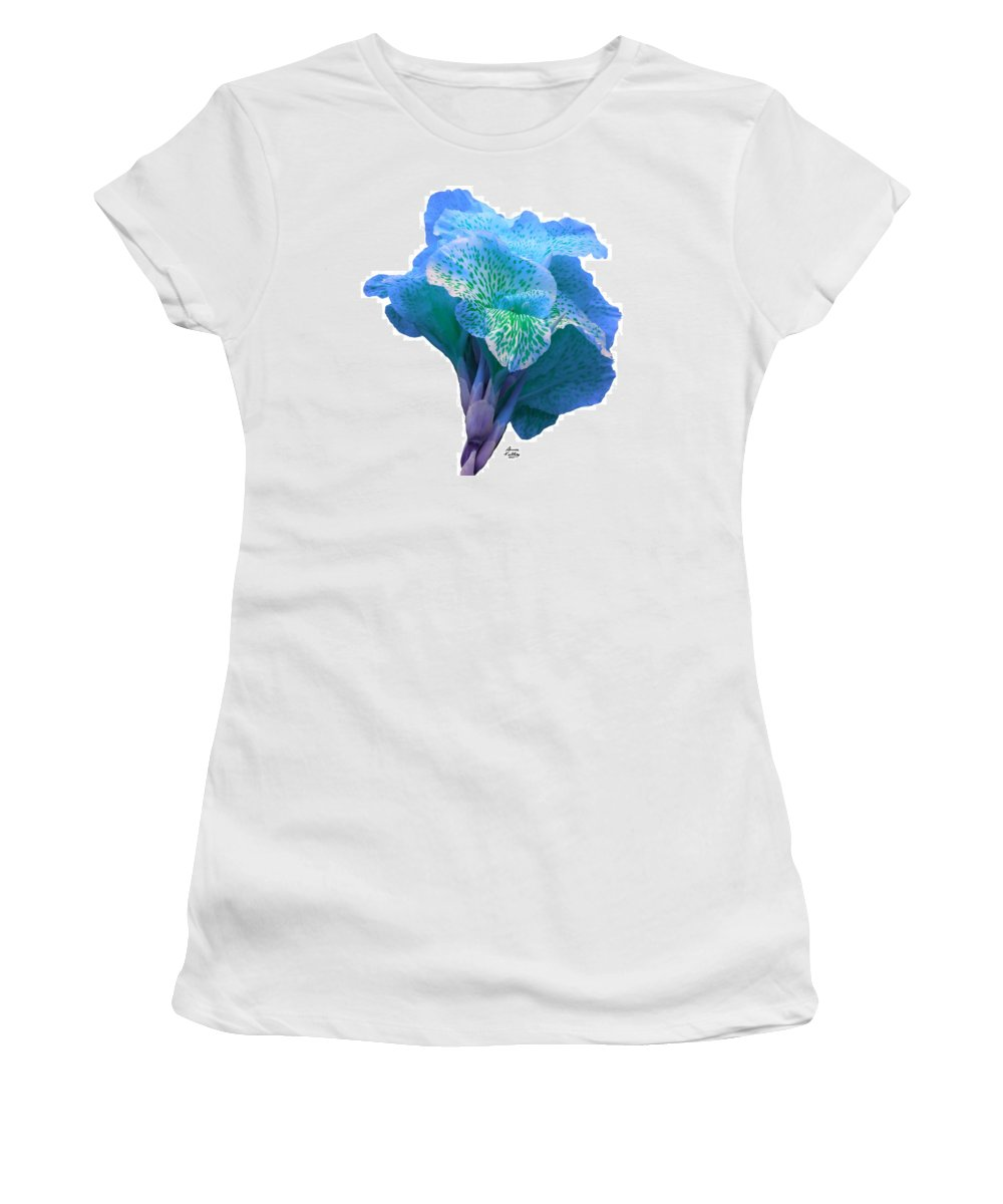 Blue Women's T-Shirt featuring the painting Light Blue Iris by Bruce Nutting