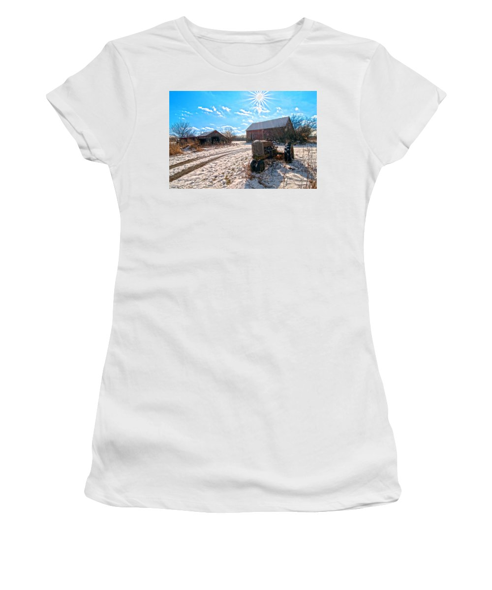 Barn. Corn Patch Women's T-Shirt (Athletic Fit) featuring the photograph Light Still Shines But Good Times Gone by Randall Branham