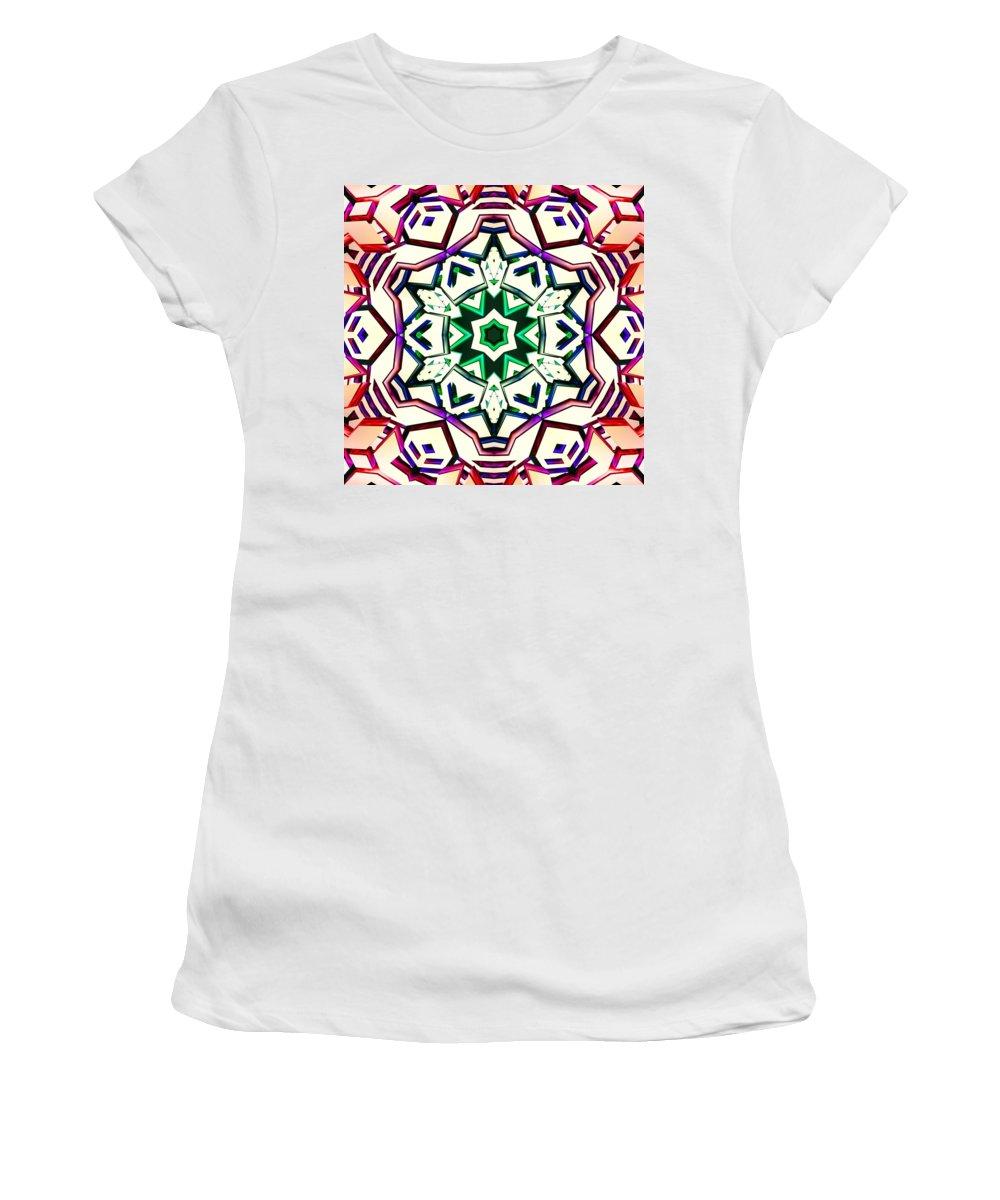 Sacredlife Mandalas Women's T-Shirt (Athletic Fit) featuring the digital art Light Wave Tunnel by Derek Gedney