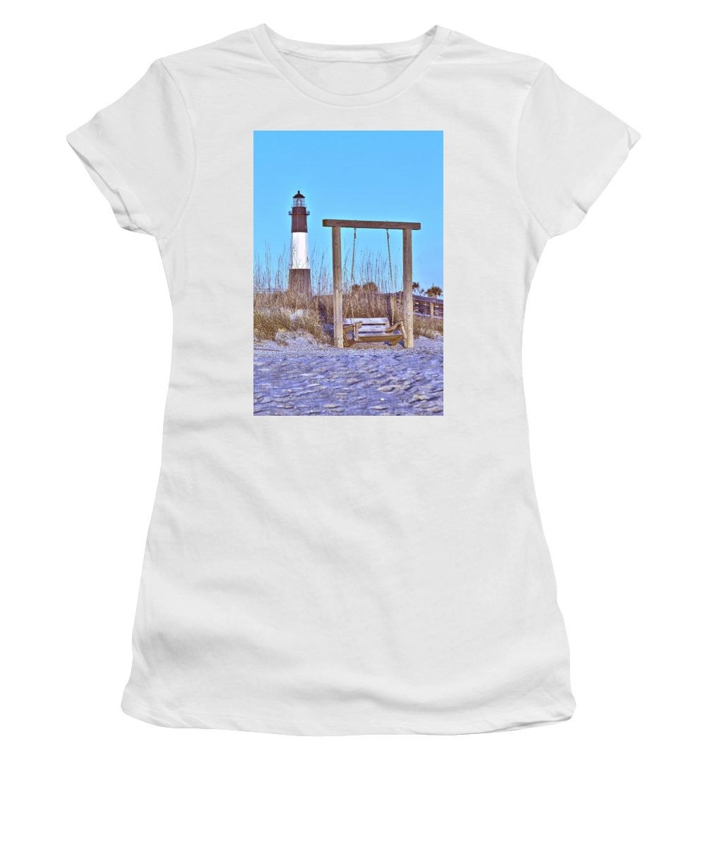 9667 Women's T-Shirt (Athletic Fit) featuring the photograph Lighthouse And Swing by Gordon Elwell