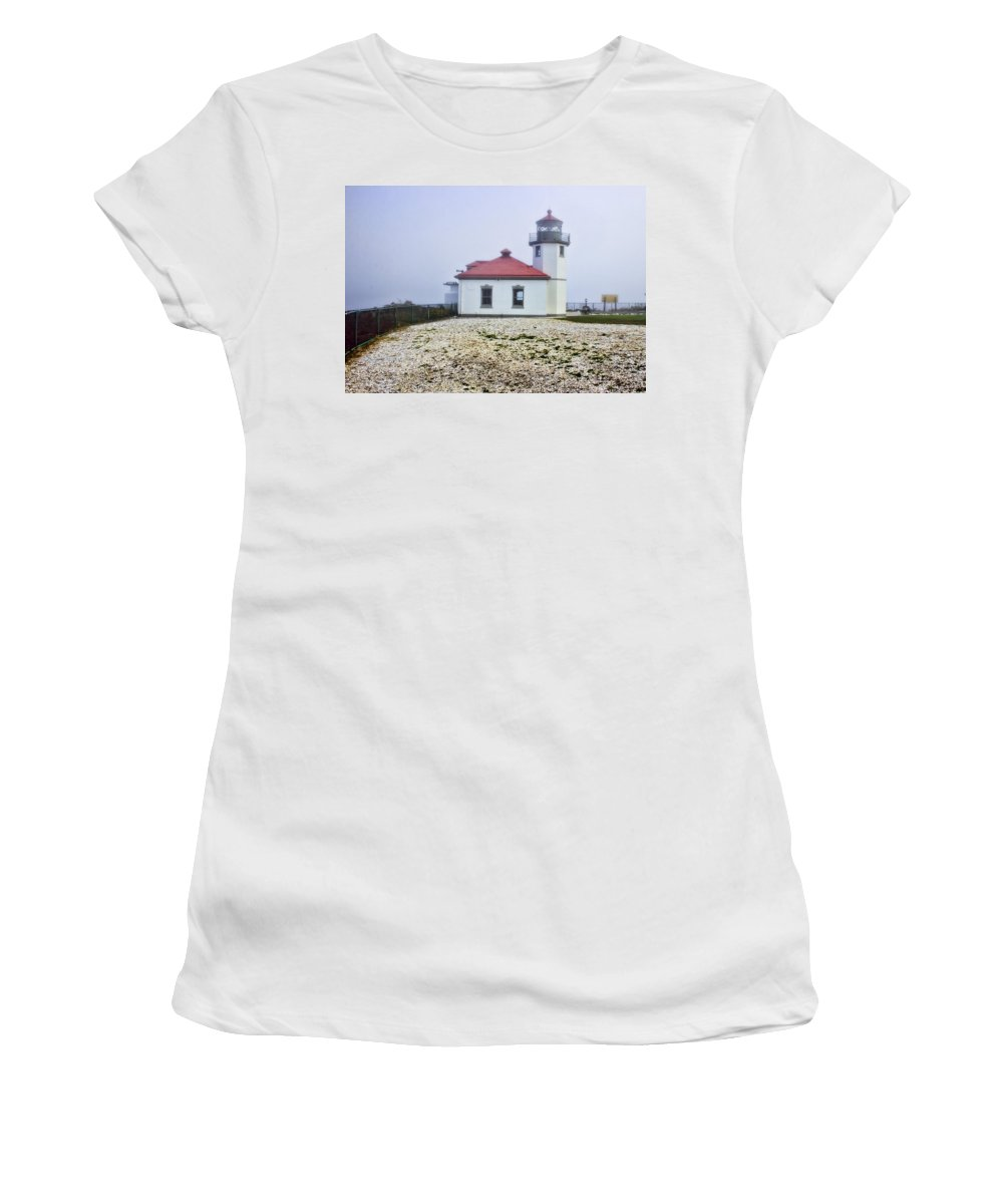 Women's T-Shirt featuring the photograph Lighthouse At Alki Beach by Cathy Anderson