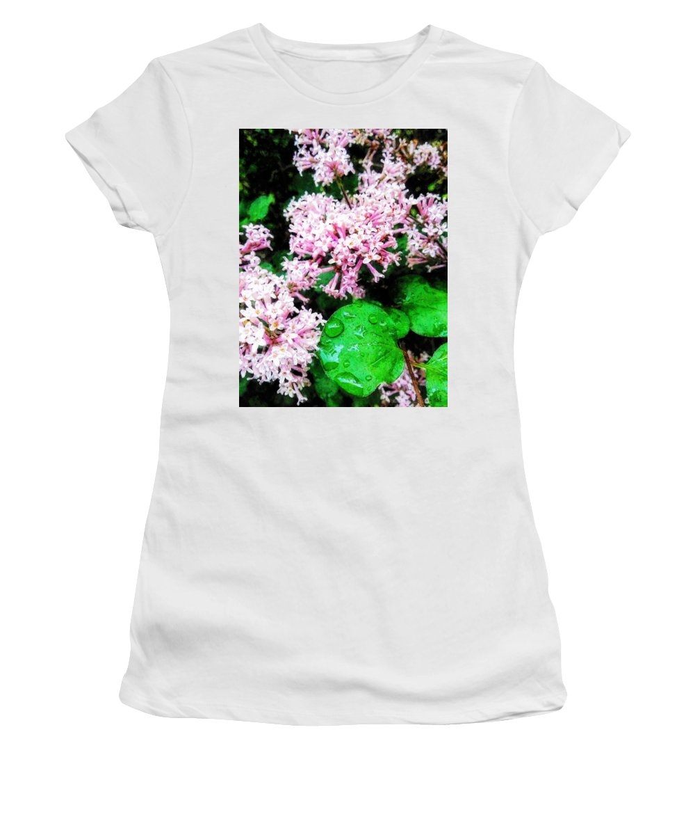 Lilacs Women's T-Shirt (Athletic Fit) featuring the painting Lilacs After The Rain by Sandy MacGowan