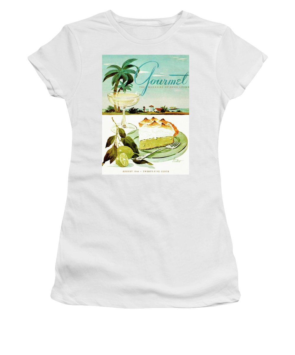 Food Women's T-Shirt featuring the photograph Lime Meringue Pie With Champagne by Henry Stahlhut
