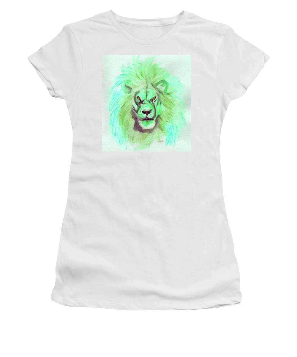 Lion Women's T-Shirt (Athletic Fit) featuring the painting Lion Blue By Jrr by First Star Art