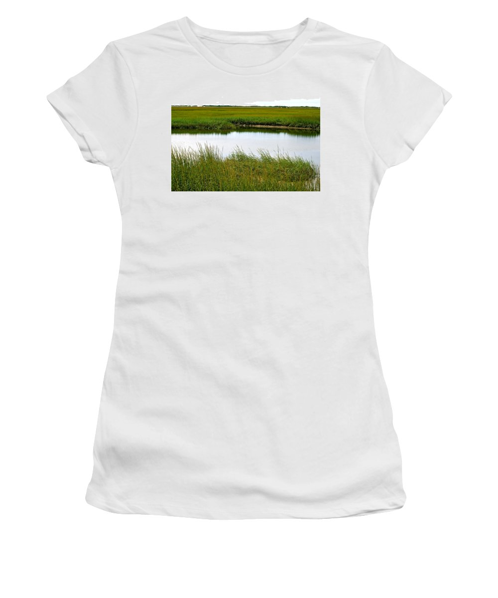 Salt Marshes Women's T-Shirt (Athletic Fit) featuring the photograph Little Green Paradise by Ira Shander