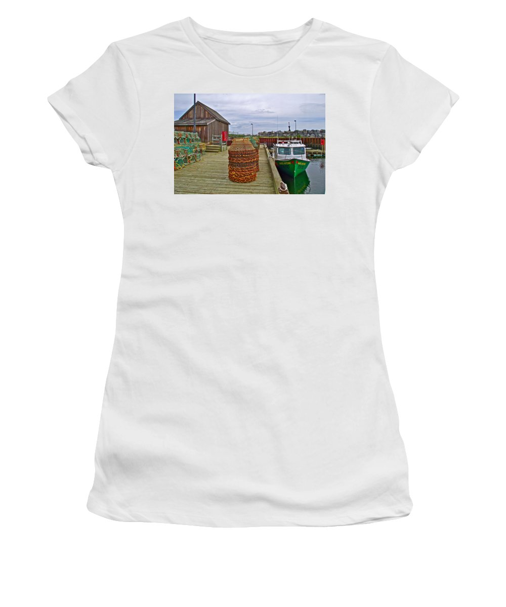 Lobster Fishing Baskets And Boats In Forillon Np Women's T-Shirt (Athletic Fit) featuring the photograph Lobster Fishing Baskets And Boats By A Dock In Forillon Np-qc by Ruth Hager