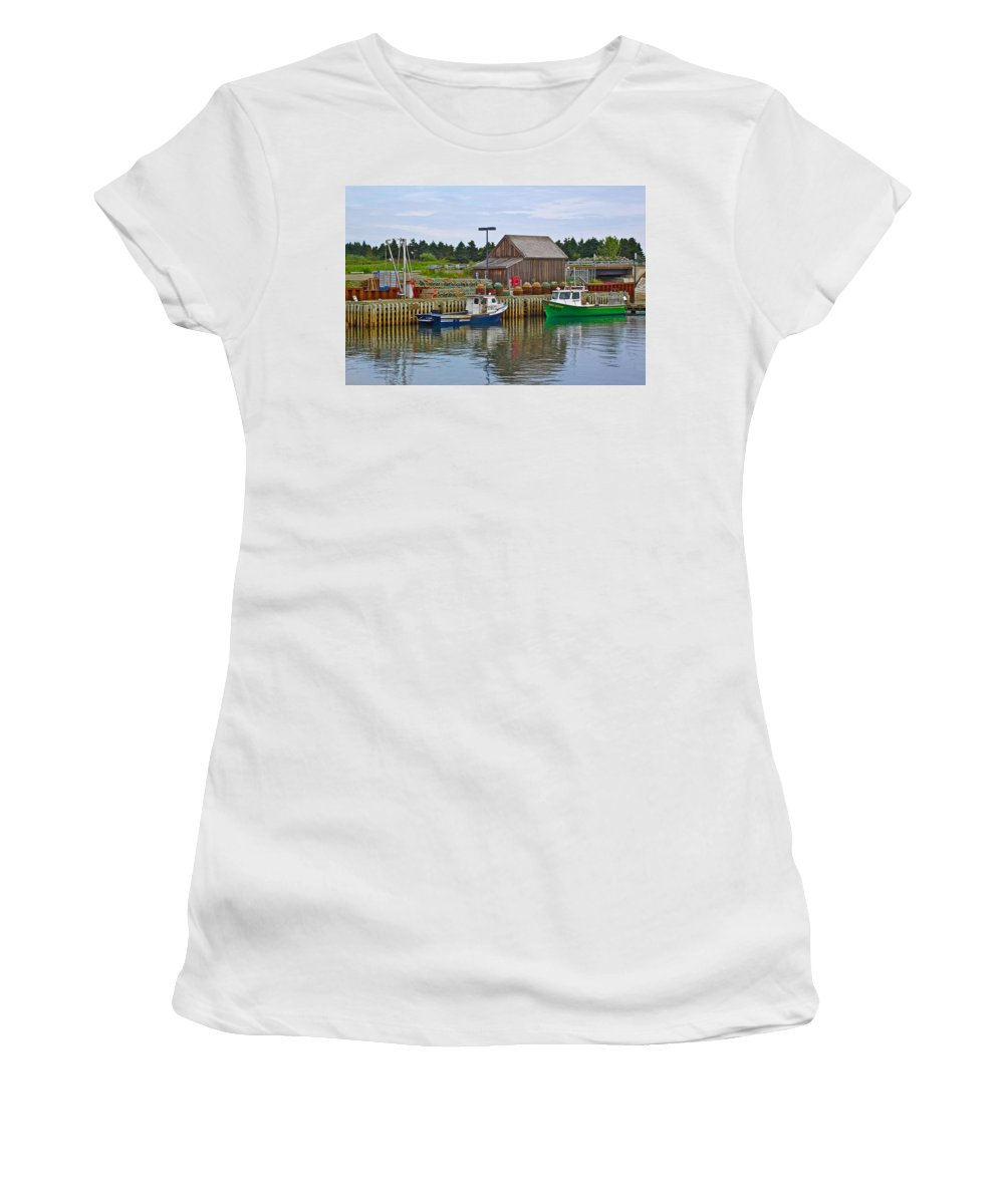 Lobster Fishing Baskets And Boats In Forillon Np Women's T-Shirt (Athletic Fit) featuring the photograph Lobster Fishing Baskets And Boats In Forillon Np-qc by Ruth Hager