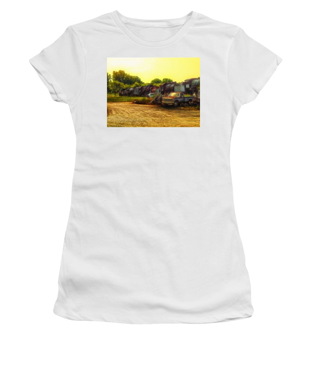 Transportation Women's T-Shirt (Athletic Fit) featuring the photograph Locomotive Graveyard by Thomas Woolworth