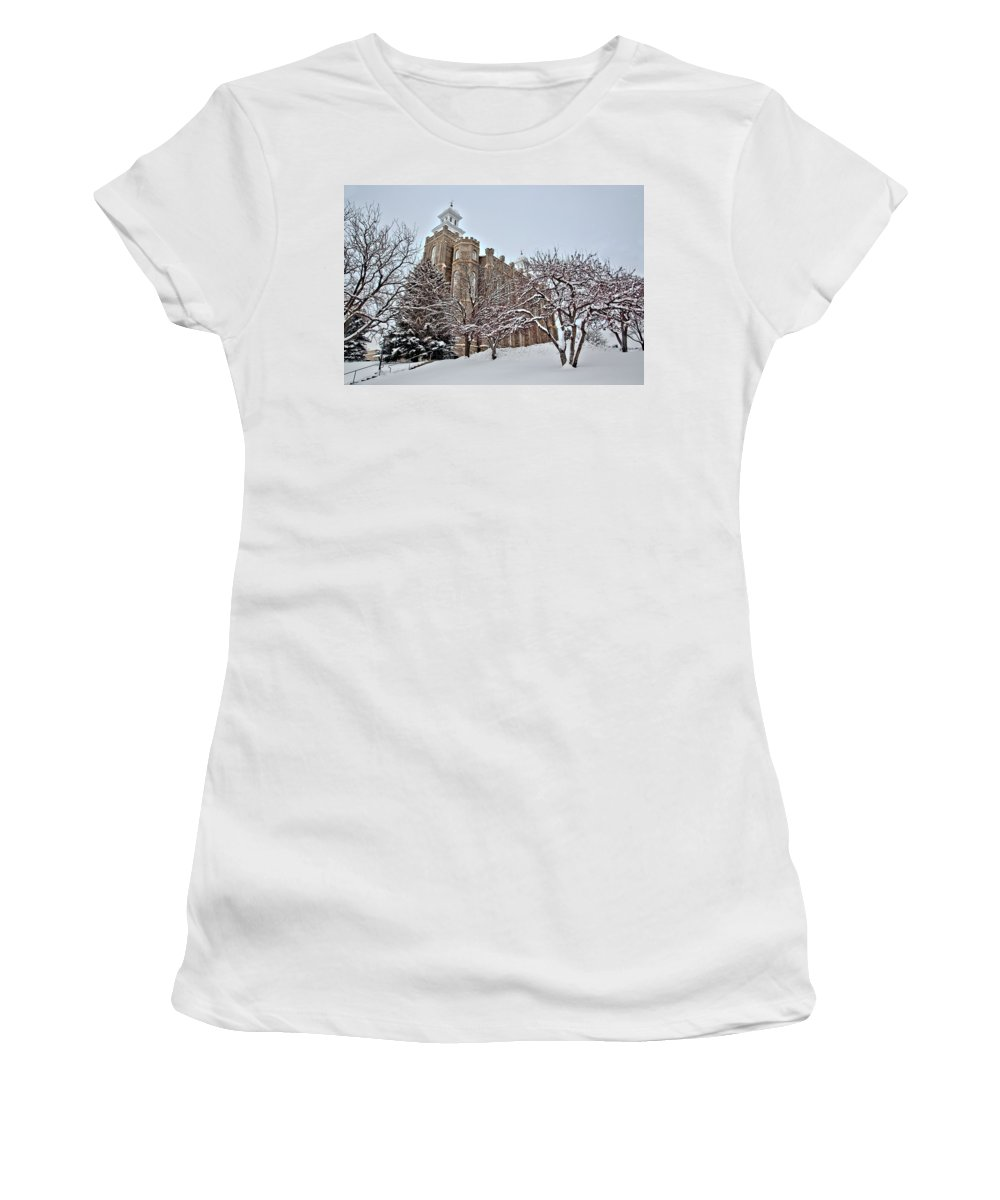 Logan Women's T-Shirt (Athletic Fit) featuring the photograph Logan Temple Winter by David Andersen