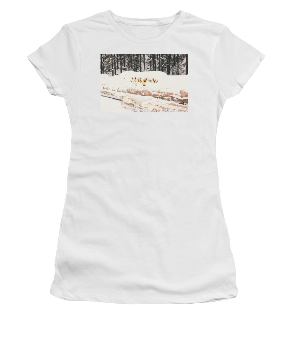 Wood Women's T-Shirt featuring the photograph Logs by Pati Photography
