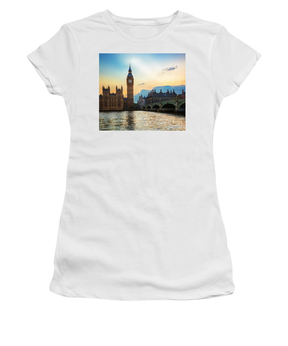 London Women's T-Shirt featuring the photograph London Uk Big Ben The Palace Of Westminster At Sunset by Michal Bednarek