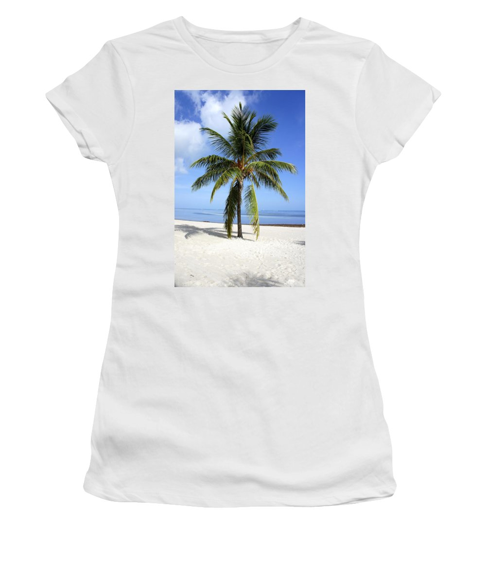 Palm Tree Women's T-Shirt (Athletic Fit) featuring the photograph Lone Palm by Laurie Perry
