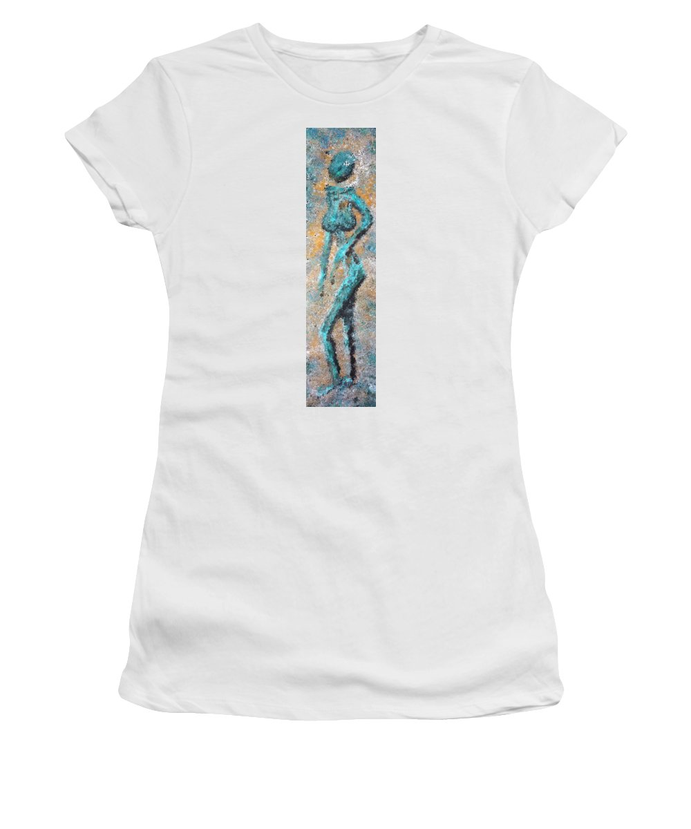 Acrylic Women's T-Shirt (Athletic Fit) featuring the painting Lone Squaw by David Hansen