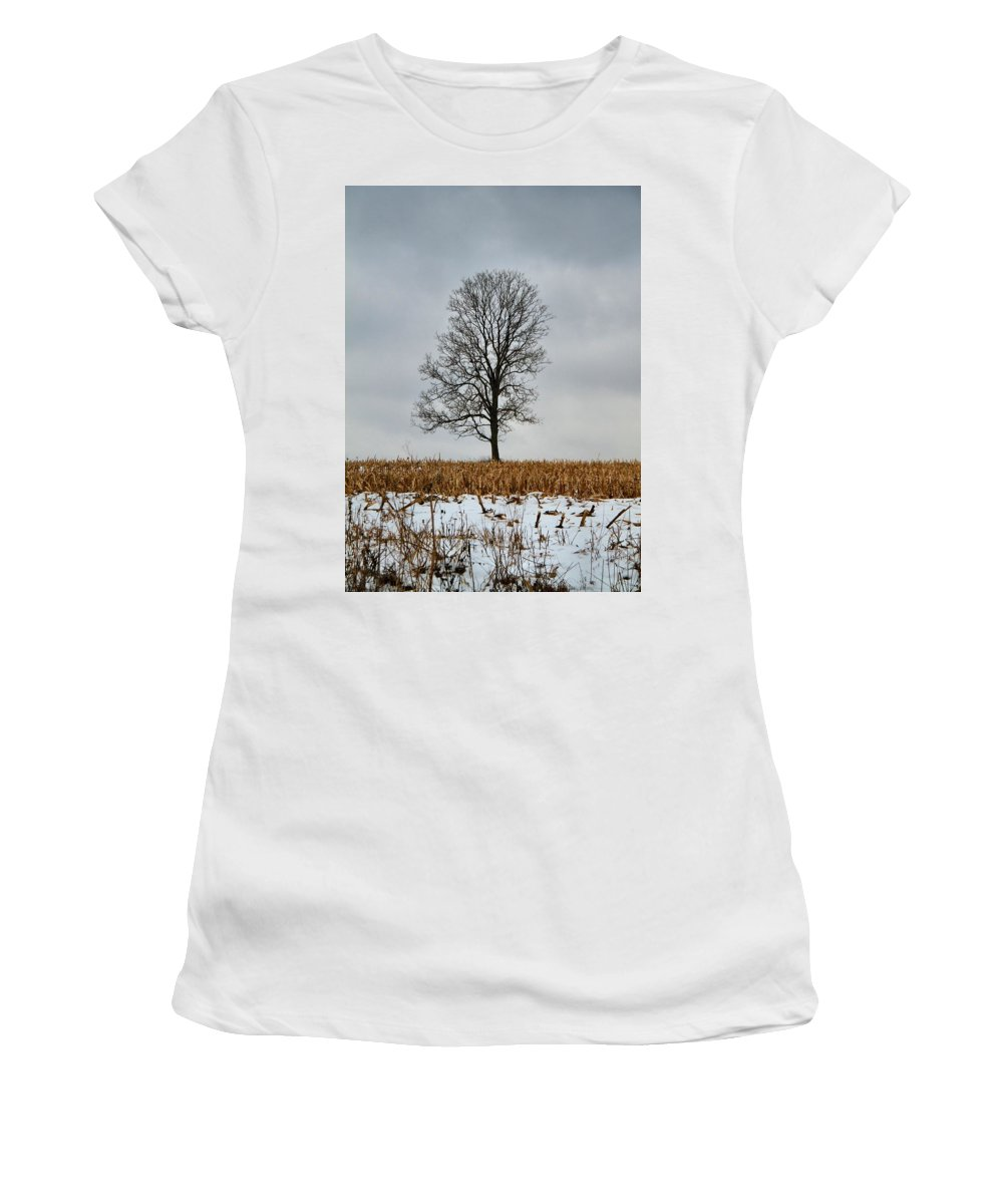 Lone Tree In Winter Women's T-Shirt (Athletic Fit) featuring the photograph Lone Tree In Winter by Dan Sproul