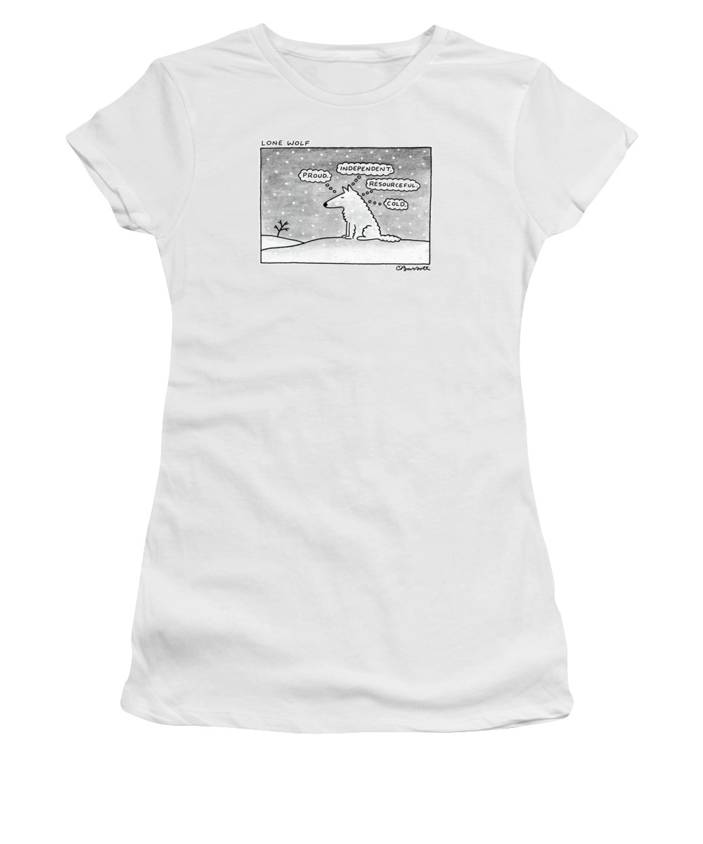 (lone Wolf: Title. A Wolf Sits In The Snow Women's T-Shirt featuring the drawing Lone Wolf: by Charles Barsotti
